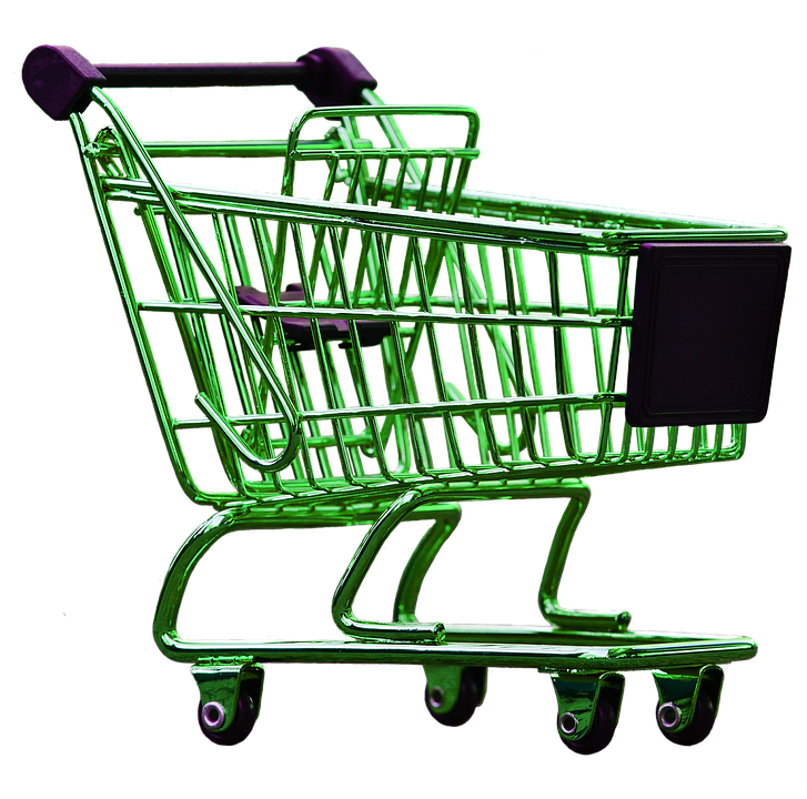 green empty toy shopping cart