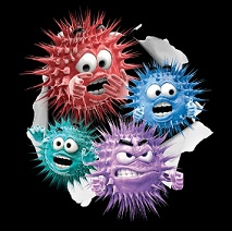 Picture of cartoon flu germs bursting through the page